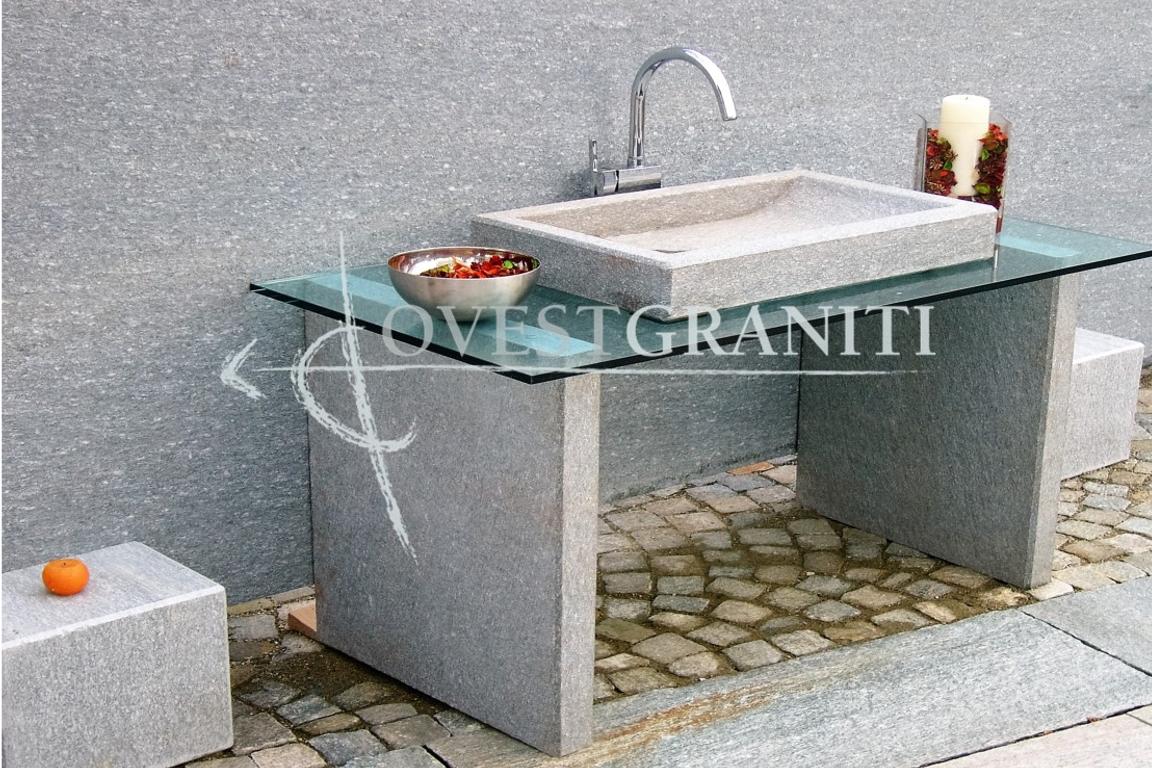 Bagno In Pietra Di Luserna : Ovest graniti piano fiammato lavandini in pietra di luserna